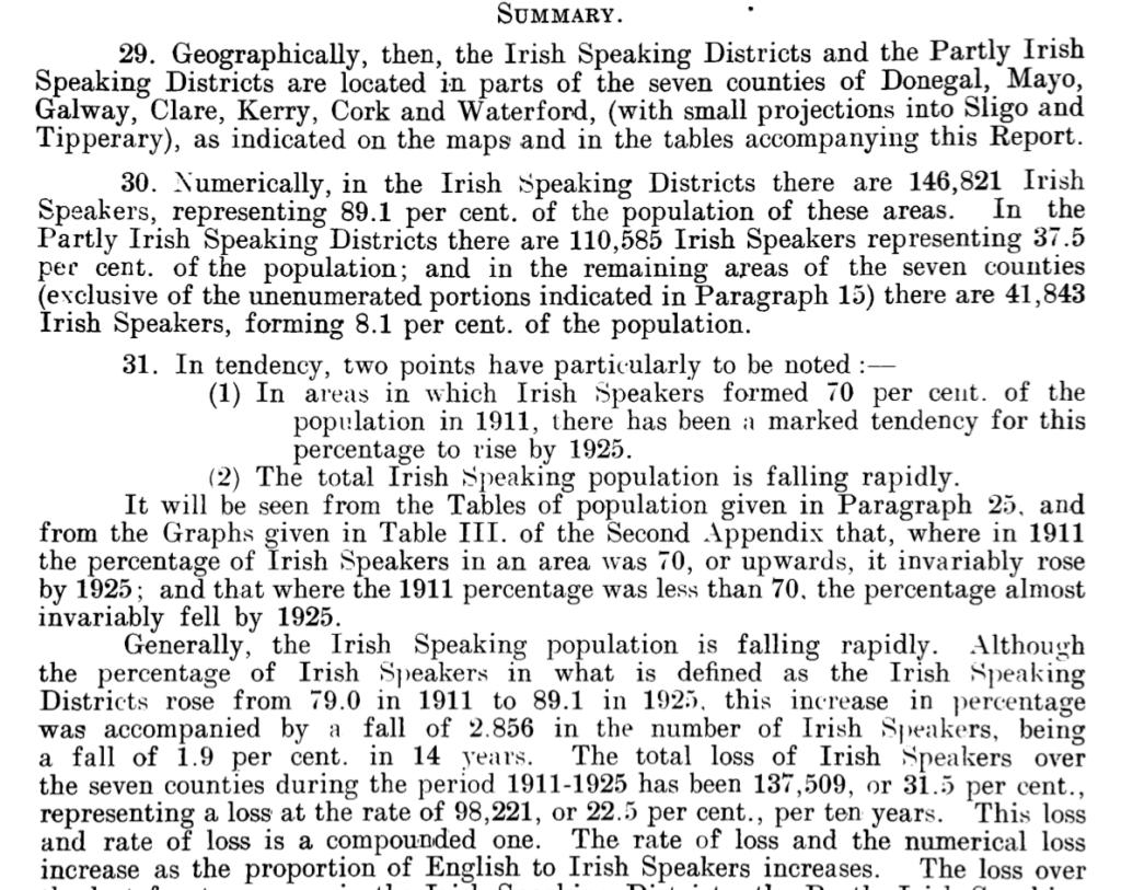 Sliocht as tuairisc Choimisiún na Gaeilge 1925